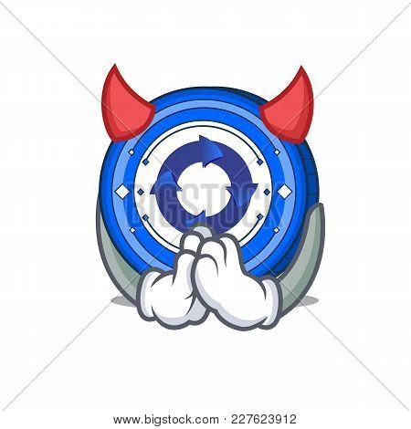 Devil Cryptonex Coin Mascot Cartoon Vector Illustration