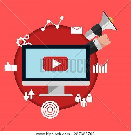 Video Marketing Flat Concept Design Vector Eps 10 Illustration