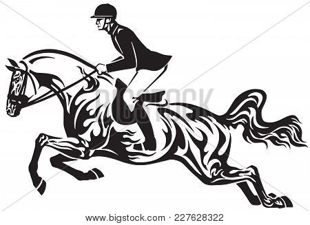 Horse Show Jumping . Equestrian Sport Competition . Horseman Rider Controls A Horse Jumping Over An
