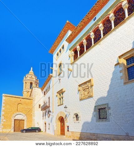 Sitges Town Hall And Church  Parish Of Saint Bartholomew And San