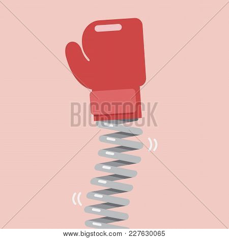 Boxing Glove With Elastic Metal Spring. Vector Illustration