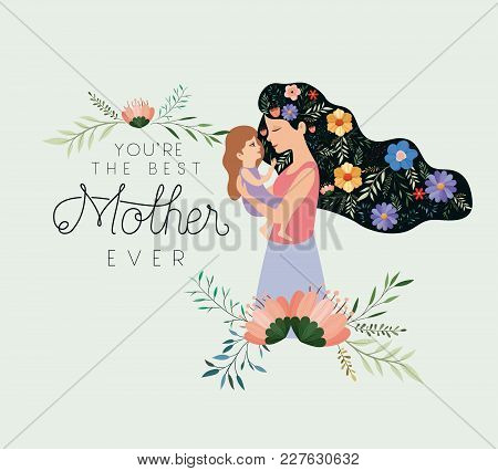 Happy Mothers Day Lifting A Daughter Vector Illustration Design