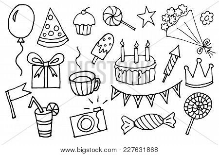 Doodle Hand Drawn Vector Cartoon Birthday Elements With Gift Box, Lollipop, Cake And Cupcake, Flower