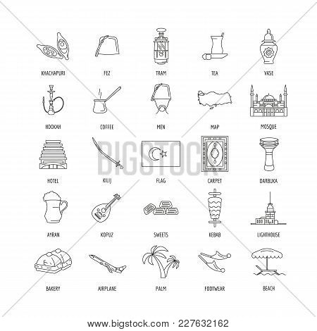 Turkey Culture And Traditions Outline Icons Set. Turkey Objects Vector Illustration Isolated On Whit