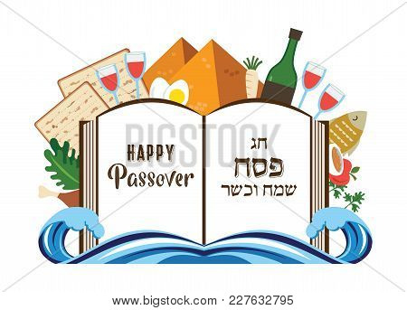 Abstract Passover Story Haggadah Book Over Traditional Food And Holiday Icons. Vector Illustration