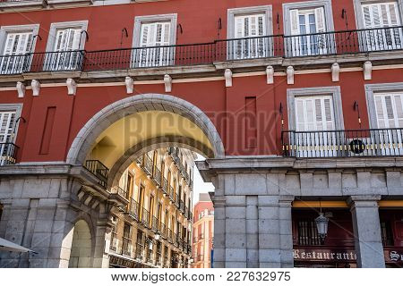 Madrid, Spain - July 2, 2017:  Plaza Mayor In Madrid. It Was Built During Philip Iii Reign And Is A
