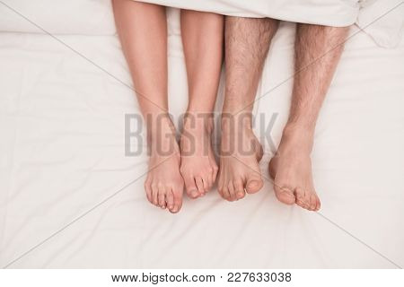 Four Feet Of Two Belovers. Sex Concept.