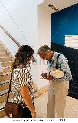 Madrid, Spain - June 4, 2017: Famous Spanish Architect Rafael Moneo In An Exhibition Of His Works In