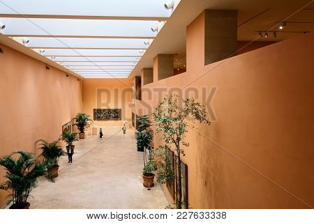Madrid, Spain - June 4, 2017: Interior View Of Main Hall Of Thyssen-bornemisza Museum. It Is An Art