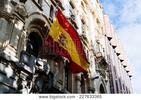 Madrid, Spain - June 4, 2017: Spanish Flag Waving In Naval Museum Of Madrid. It Forms Part Of The Sp