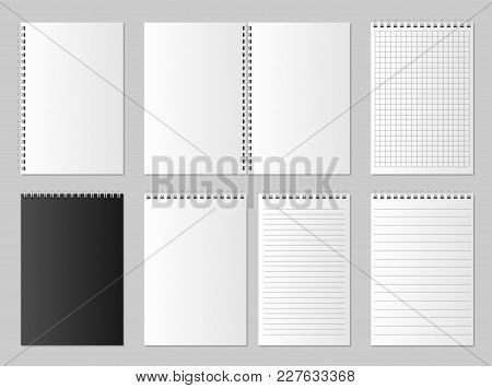 Realistic Blank Open And Closed Organizer. Notebook And Notepad Set Mock Up Isolated. Diary Paper Pa
