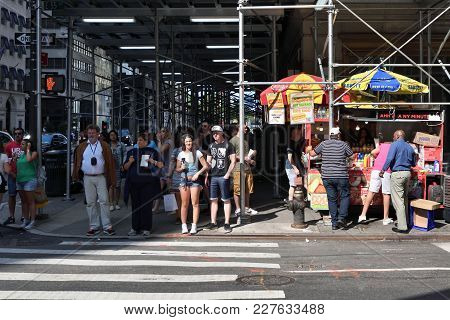 New York City, Usa - Aug. 26: Unidentified People On Street In Manhattan On August 26, 2017 In New Y