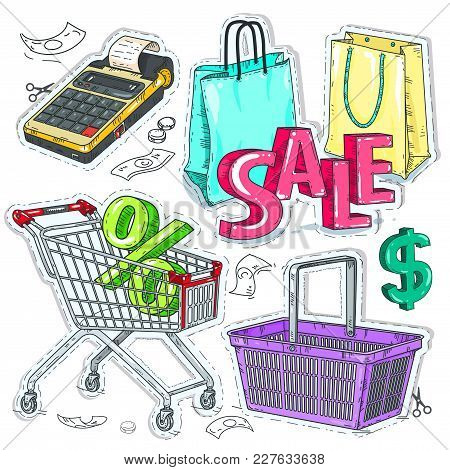 Vector Illustration Sketch, Of Comic Style Colorful Icons, Set Supermarket And Trade, The Trading Eq