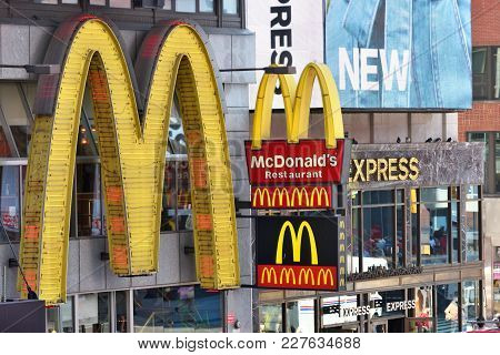 New York City - Aug. 24: Macdonalds Signs On The Times Square In Manhattan On August 24, 2017 In New