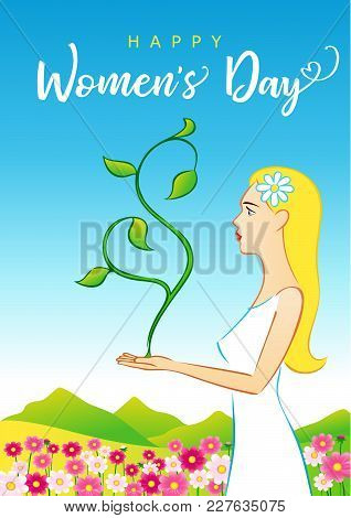 Happy Womens Day 8 March, Beautiful Woman Greeting Card. Vector Illustration For The International W