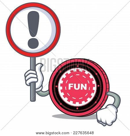 With Sign Funfair Coin Character Cartoon Vector Illustration
