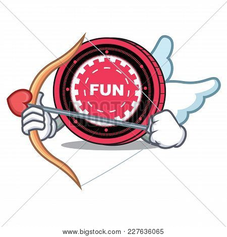 Cupid Funfair Coin Character Cartoon Vector Illustration
