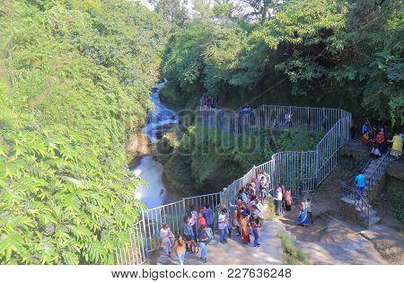 Pokhara Nepal - November 8, 2017: Unidentified People Visit Devis Fall Waterfall Pokhara Nepal.