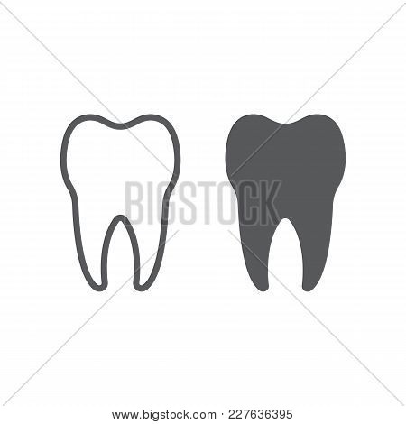 Tooth Line And Glyph Icon, Stomatology And Dental, Healthy Dent Sign Vector Graphics, A Linear Patte