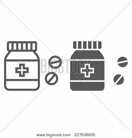 Pills Bottle Line And Glyph Icon, Medical And Healthy, Drugs Sign Vector Graphics, A Linear Pattern