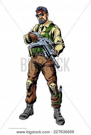 War Terror Soldier With Gun, Illustration, Vector, Color