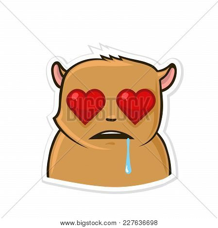 Sticker For Messenger With Funny Animal Character. Hamster In Love. Vector Illustration, Isolated On
