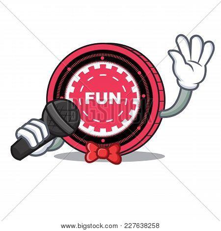 Singing Funfair Coin Mascot Cartoon Vector Illustration