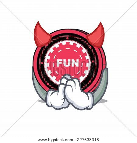 Devil Funfair Coin Mascot Cartoon Vector Illustration