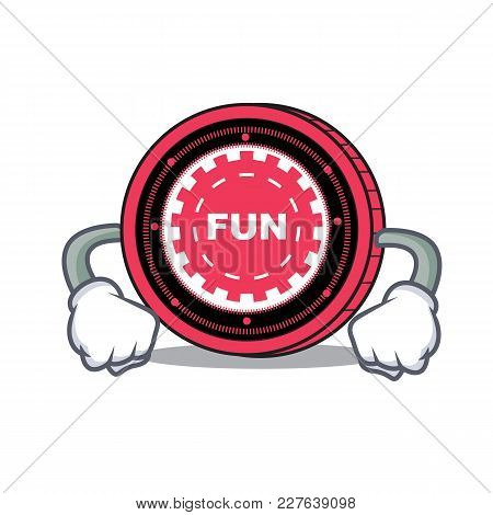 Angry Funfair Coin Mascot Cartoon Vector Illustration