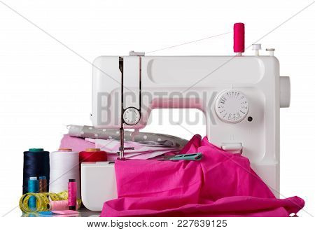 Household Sewing Machine And Accessory Set Isolated On White Background