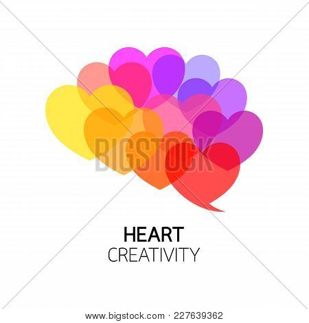 Heart Into Brain Shape. Colorful Icon Design. Emotion Over Concept. Use Brain And Heart, Illustratio