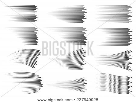 Speed Lines Isolated Set. Motion Effect For Your Design. Black Lines On White Background.
