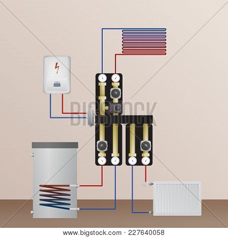 Electrical Boiler In The Heating System. Vector Illustration. The Hvac Equipment. Hydraulic Strappin