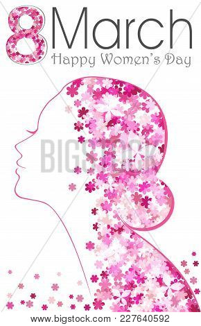 8 March. Happy Women's Day Poster With Flowers. International Women's Day.