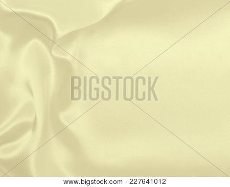 Smooth Elegant Golden Silk Or Satin Luxury Cloth Texture As Wedding Background. Luxurious Christmas