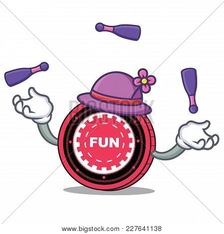 Juggling Funfair Coin Mascot Cartoon Vector Illustration