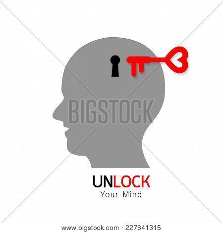 Key And Keyhole On Head. Unlock Concept, Illustration Isolated On White Background.