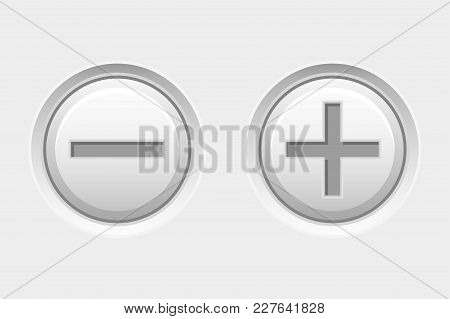 Plus And Minus White Interface Buttons. Vector 3d Illustration