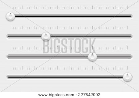 Slider Control Panel. White Settings Bars. Vector 3d Illustration