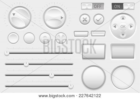 Interface Buttons. Web Toggle Switch Buttons, Navigation Buttons And Slider Bars. Vector 3d Illustra