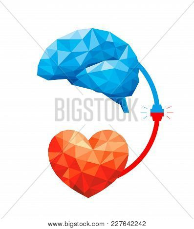 Connection Between Logic And Emotion Concept. Polygonal Style Of  Brain And Heart. Vector Illustrati