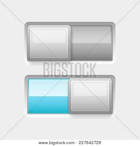 White Square Blue Slider Buttons. Web Interface Buttons, On And Off. Vector 3d Illustration
