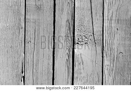 Wooden Fence Pattern In Black And White. Abstract Background And Texture For Design.