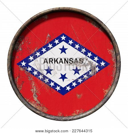 3d Rendering Of An Arkansas State Flag Over A Rusty Metallic Plate. Isolated On White Background.