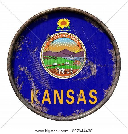 3d Rendering Of A Kansas State Flag Over A Rusty Metallic Plate. Isolated On White Background.