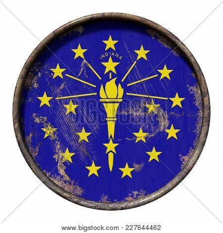 3d Rendering Of An Indiana State Flag Over A Rusty Metallic Plate. Isolated On White Background.