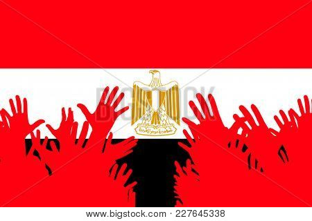 Hands up silhouettes on a Egypt flag. Crowd of fans of soccer, games, cheerful people at a party. Vector banner, card, poster.