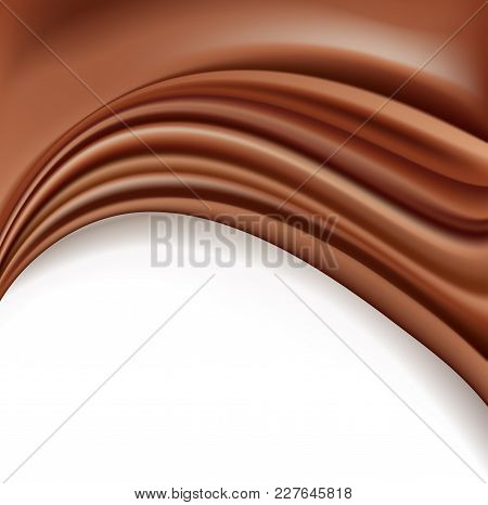 Chocolate Background With Soft Creamy Waves Melting On White. Vector Illustration