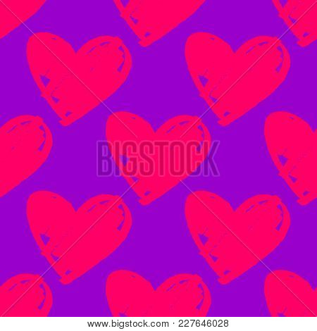 Tile Vector Pattern With Pink Hearts On Ultra Violet Background