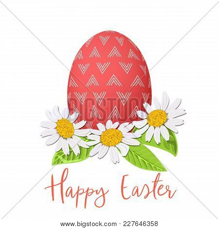 Easter Red Egg And Daisy Wreath. Decorated Festive Egg With Simple Abstract Ornaments. Spring Holida